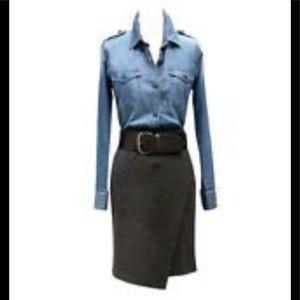 CAbi Charcoal Faux Wrap Knee Length Skirt
